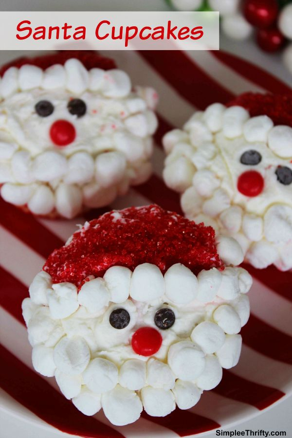 Are you looking for a cute Holiday treat? We whipped up some Santa Cupcakes for you to try out too! These actually were pretty easy to make. They will definitely be a hit where ever you take them! The little guy even got in on making these!