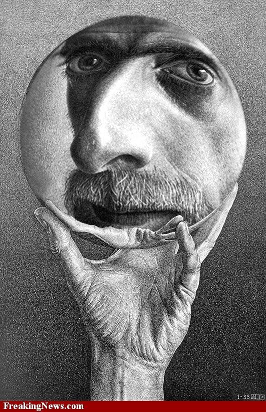 Escher self portrait (not our Escher - the artist Escher!) What an interesting idea for a portrait. Difficult to do though and in pencil!