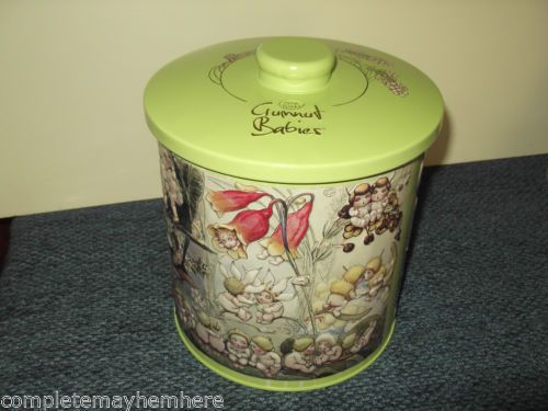 May-Gibbs-Gumnut-Babies-green-tin-canister-cute-Australiana-empty