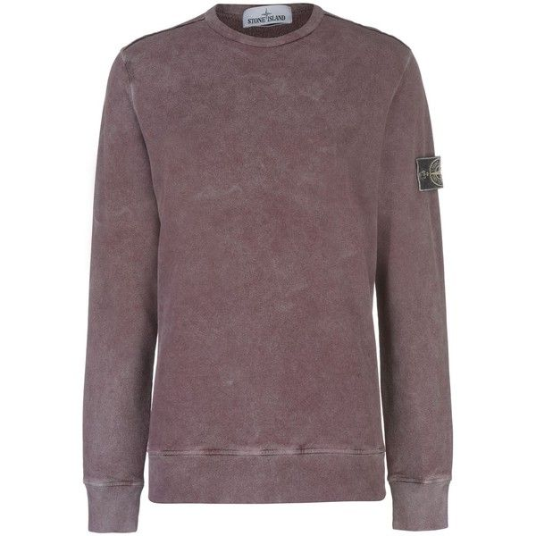 STONE ISLAND Frost Dyed Crew Sweater ($295) ❤ liked on Polyvore featuring tops, sweaters, brown crew neck sweater, crew-neck tops, crew-neck sweaters, brown top and off one shoulder tops