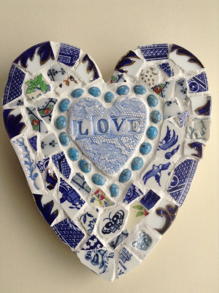 Mosaic heart with handmade ceramic pieces.