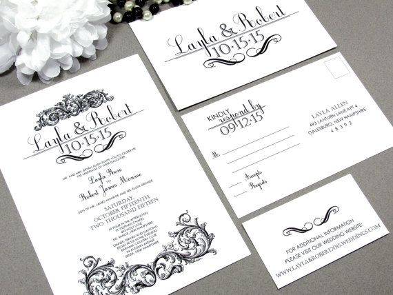 Victorian Swirl Wedding Invitation Set by RunkPock Designs / Vintage Script Scroll Swirl Formal Invitation Suite shown in black and white