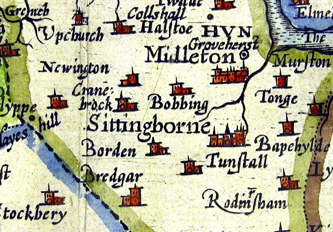 Saxton Map 1575 for Sittingbourne