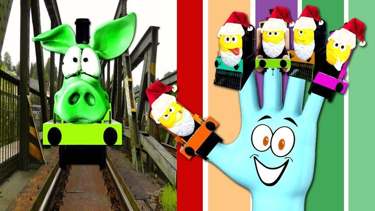 Learn Colors with funny pig train   finger family with christmas train  ...