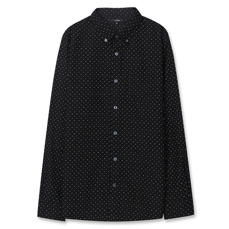 Topten10 Unisex Unique Black Polka Dots Oxford Buttondown Cotton Dress Shirts #Topten10