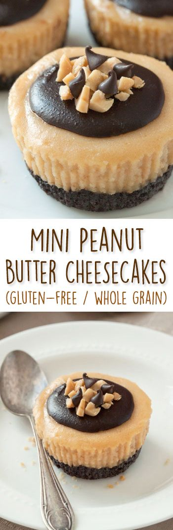 These mini peanut butter cheesecakes are made a little healthier with natural peanut butter and honey and can be made gluten-free, grain-free, and 100% whole grain!