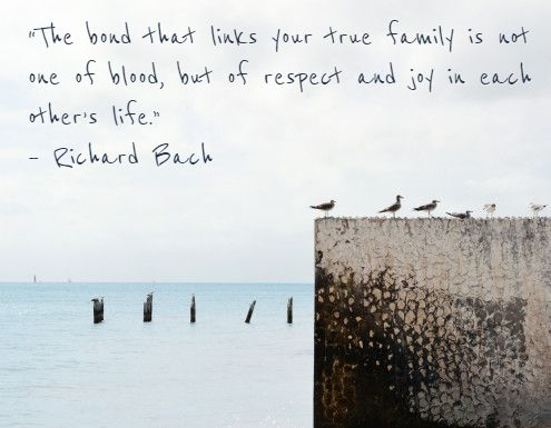 """The bond that links your true family is not one of blood, but of respect and joy in each other's life."" – Richard Bach"