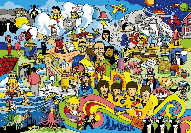 Artwork containing 70 illustrated Beatles song titles