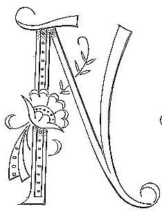 """Broderie D'Antan: Embroidery Patterns (20 Monograms for """"N"""")...pour Nadia"""