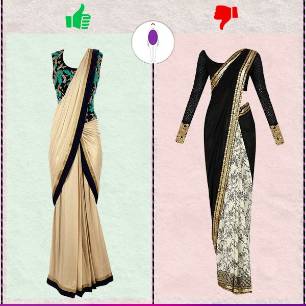 Round bodyshape: Opt for corset blouses with sarees to camouflage your extra fat on your tummy area. Shop for best suitable ethnics for your body type right here: #voonik #voonikstyletips #roundbodyshape #ethnicwear