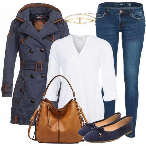 Casual Outfit für den Büroalltag aus Naketano Trenchcoat, weißer Bluse und blauen Ballerinas... #fashion #fashionista #mode #damenmode #frauenmode #outfit #damenoutfit #frauenoutfit #komplettesoutfit #trend #trend2018 #modetrend #inspiration #frühling