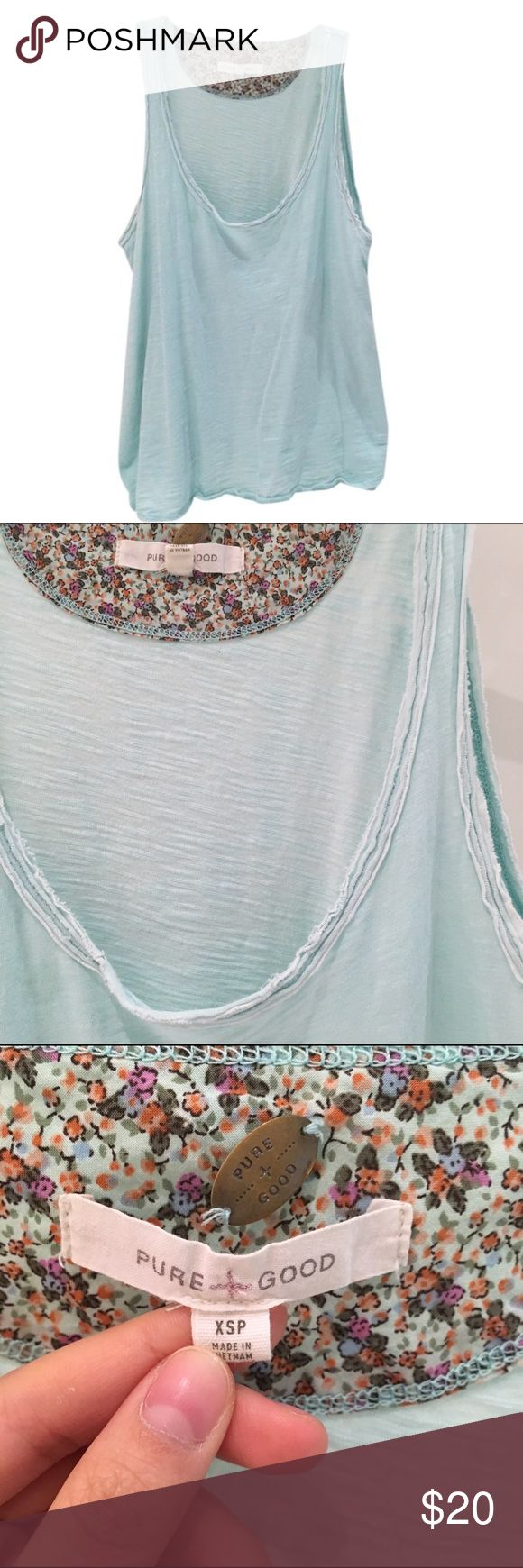 🔑DAILY DEAL🔑 Anthropologie Pure&Good Swing Tank 🎁Price firm                                                                 🔑Bundle to save                                                                                                   👍Like for price drop notifications                                     EUC, no stains spots or loose threads. 100% cotton. Pretty light blue color with folded detail along the sides. One very small hole near belly button (see 5th photo). Anthropologie…