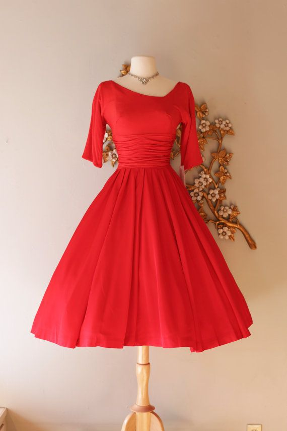 Vintage 1950s Cherry Red Cocktail Party Dress ~ Vintage 50s Jane Andre Red Party Dress with Full Skirt