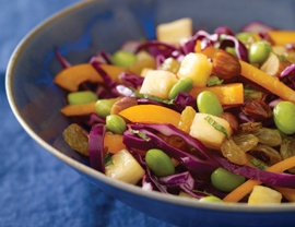 Purple Cabbage Salad with Edamame, Golden Raisins, and Smoked Almonds...oh my!