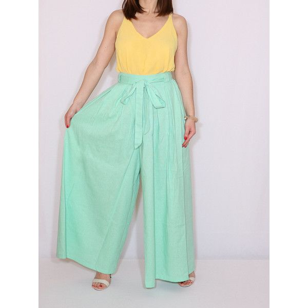 Linen Pants Mint Green Palazzo Pants Fashion Skirt Pant ($49) ❤ liked on Polyvore featuring pants, silver, women's clothing, wide leg trousers, pleated palazzo pants, green pants, wide leg palazzo pants and mint green pants