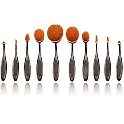 Tinksky Spazzole da trucco Ovale Pennelli Ovali Spazzole da Denti Professionale per Trucco con Design Ovalizzato