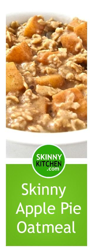 Apple Pie Oatmeal, Healthy and Super Yummy. What a great way to start the day! Each serving, 239 calories, 6g fat & 6 Weight Watchers POINTS PLUS. http://www.skinnykitchen.com/recipes/apple-pie-oatmeal-healthy-and-super-yummy/