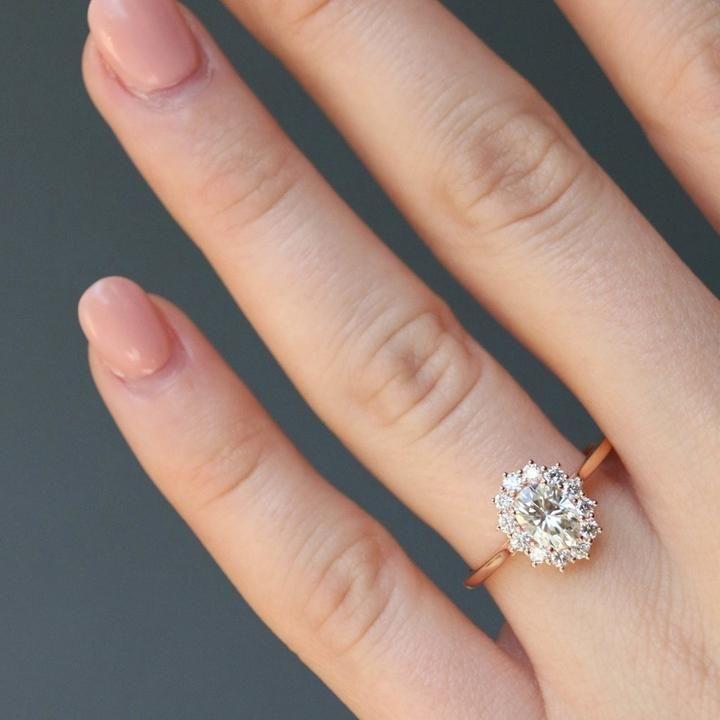 Royal Design 14k Rose Gold Ring Oval Diamond Ring Woman Wedding
