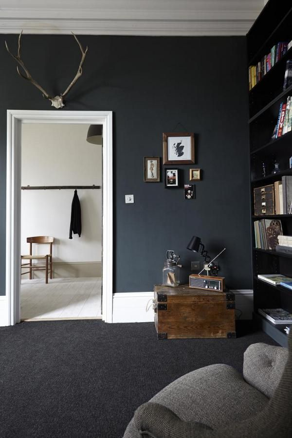 Dramatic Living Room With Black Walls Interior Design Dark Living Rooms Grey Carpet Living