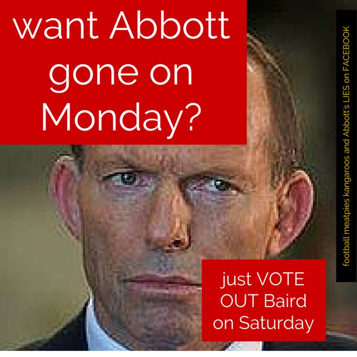 DO YOU WANT TWO FOR THE PRICE OF ONE? VOTE OUT MIKE BAIRD ON SATURDAY AND ABBOTT GOES AS WELL. photo by Football meat pies kangaroos and Abbott's LIES