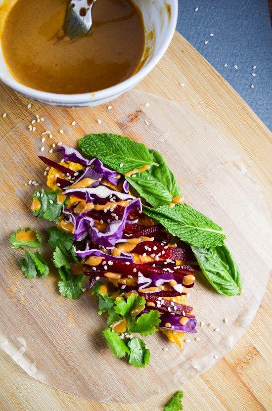 Carrot and Ginger Hummus Spring Rolls | yupitsvegan