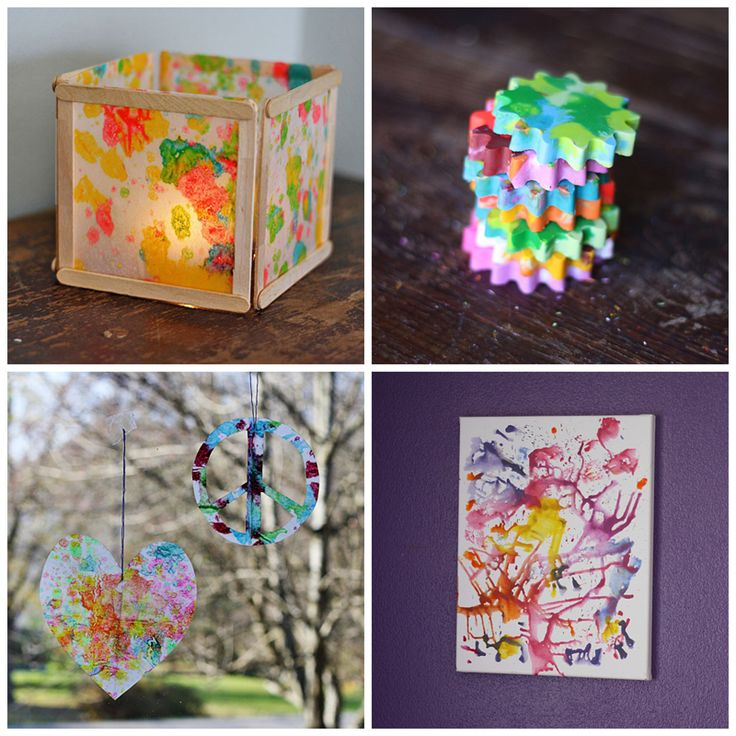 If you have kids, chances are you have a ton of crayon bits from school projects long ago. Here are 4 creative ways to recycle them into fun kid crafts.