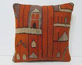 decorative pillow 16x16 orange throw pillow orange kilim pillow orange decorative pillow orange pillow cover orange pillow case orange 25576