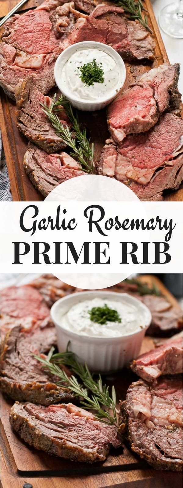 This Rosemary and Garlic Prime Rib Roast is a show stopping holiday dinner! Served with a creamy horseradish sauce, this rib roast will have everyone begging for more!