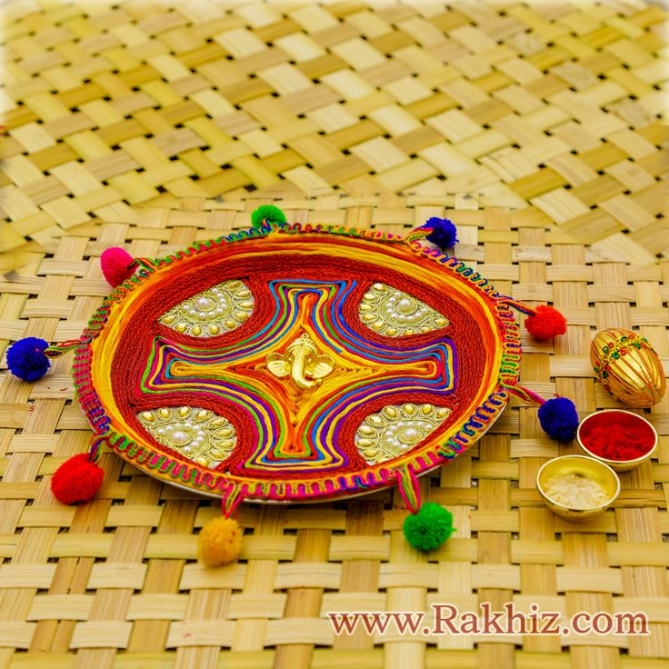Buy or Send fancy Rakhi Thali and traditionally designed Rakhi pooja Thali decorated with velvets, roli, rice, gotta borders, beaded strings, deepak, god idols and many more decorative items. Surprise your loving brother by sending rakhi pooja chosen from alluring collection of Rakhi pooja Thali for aarti.