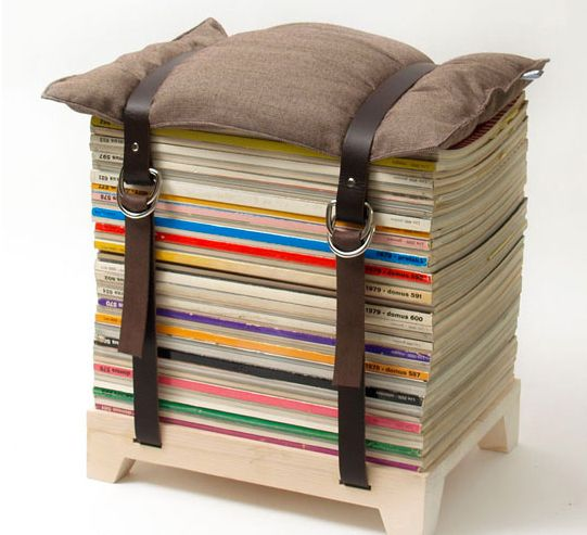 Magazines to Stool (seems like a good idea for using stacks of magazines from an old subscription, but also seems precarious)