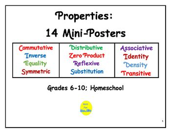 These 14 mini-posters give a quick, simplified definition and example of several properties:  Associative, Commutative, Distributive, Identity, Zero, Symmetric, Reflexive, Transitive, etc.By Math Fan