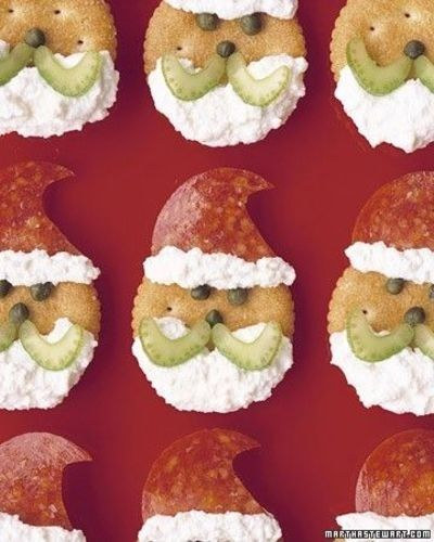 For a savory snack, make Santa crackers.