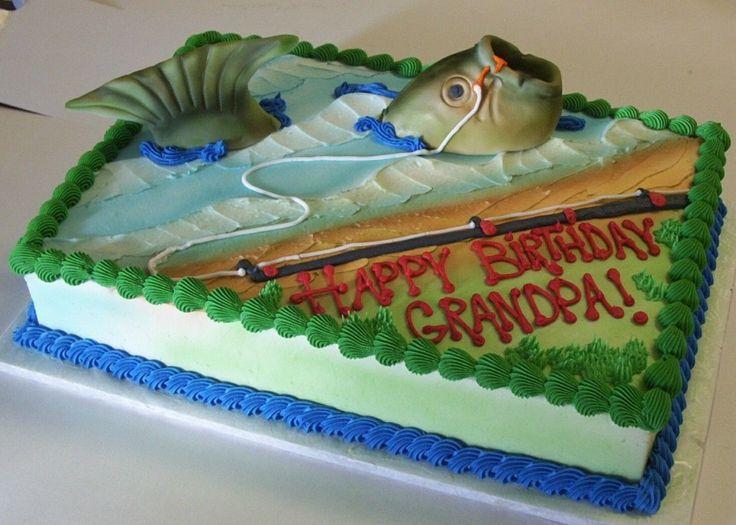 Fish and Fishing Rod Birthday Cake Idea for Grandpa