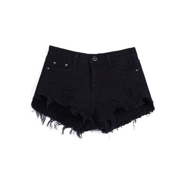 Black Buttons Ripped Fringe Denim Shorts SH1500004 ($19) ❤ liked on Polyvore featuring shorts, bottoms, black, high-waisted shorts, high rise shorts, ripped high waisted shorts, jean shorts and distressed jean shorts