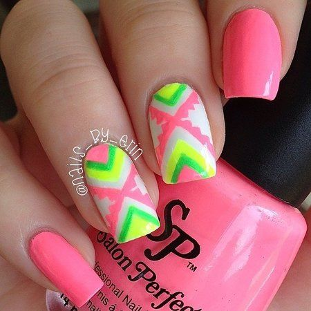 Neon Aztec Nails in hot pink. #Nailart #nails #manicure #pretty