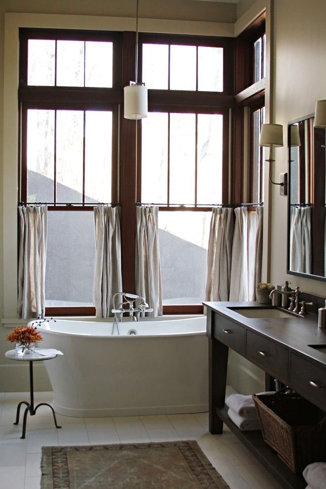 white half curtains window for bathroom in lake house white free standing tub dark finishing wooden vanity undermount sink in square shape white ceramic floors black framed mirror of Ultimate Choices of Half Curtain Design for Home