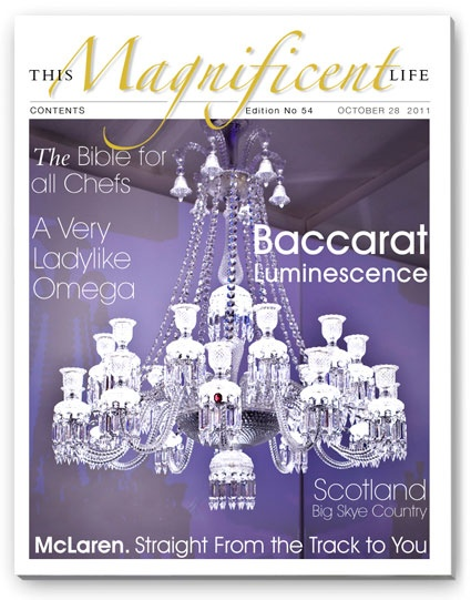 The dazzling luminescence of Baccarat on the cover of ThisMagnificentLife.com Issue 54