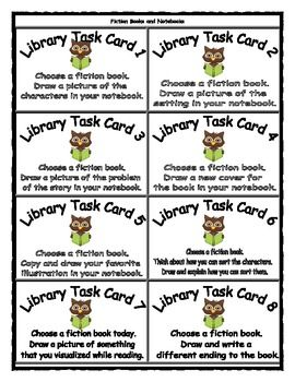 Library Center Idea:  Library Task Cards