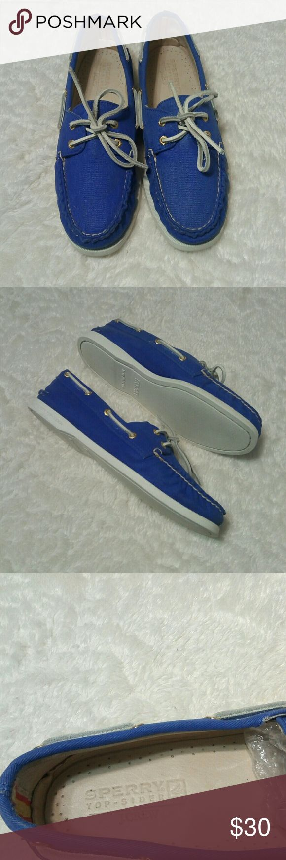 Sperry Top-Wider For J. Crew These shoes are in excellent condition. Blue fabric upper part, white soles and laces and gold eyelets. Size 9M Sperry Top-Sider Shoes