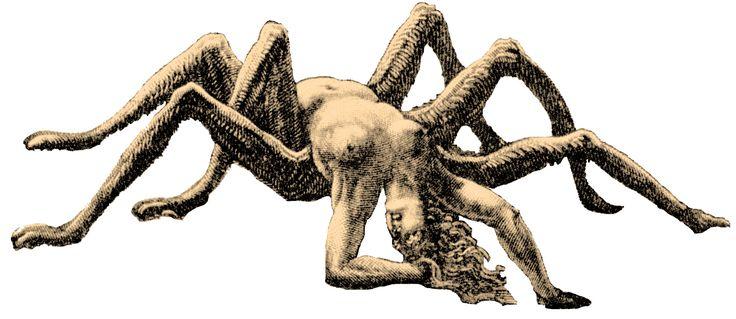 Arachne - Illustration von Gustave Doré für Dantes Inferno (1861). Die begabte, aber hochmütige Weberin wurde von Athene – griechische Göttin u.a. der Kunst, des Handwerks und der Handarbeit – zu einem Wettstreit auf dem Gebiet der Webkunst herausgefordert, den sie mit Bravour meisterte. Dies erzürnte die Olympierin derart, dass sie ihre sterbliche Konkurrentin schließlich in eine Webspinne verwandelte.