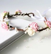 Pink Floral Crown, Pale Pink and White Rose Flower Crown, Flower girl flower crown, bridesmaid headpiece