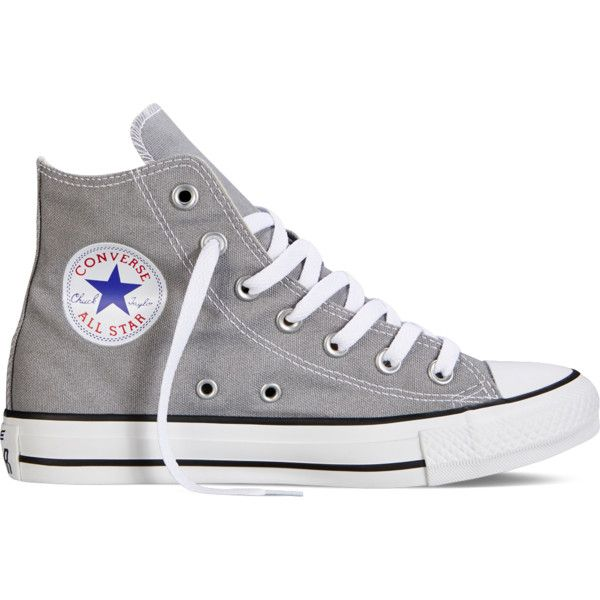 Converse Chuck Taylor All Star Fresh Colors – grey Sneakers ($40) ❤ liked on Polyvore featuring shoes, sneakers, converse, zapatos, grey, converse shoes, grey shoes, star sneakers, high top trainers and hi tops