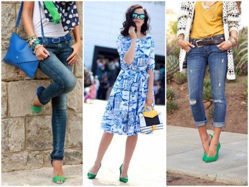 обувь ЗЕЛЕНОГО цвета - сочетание с одеждлй