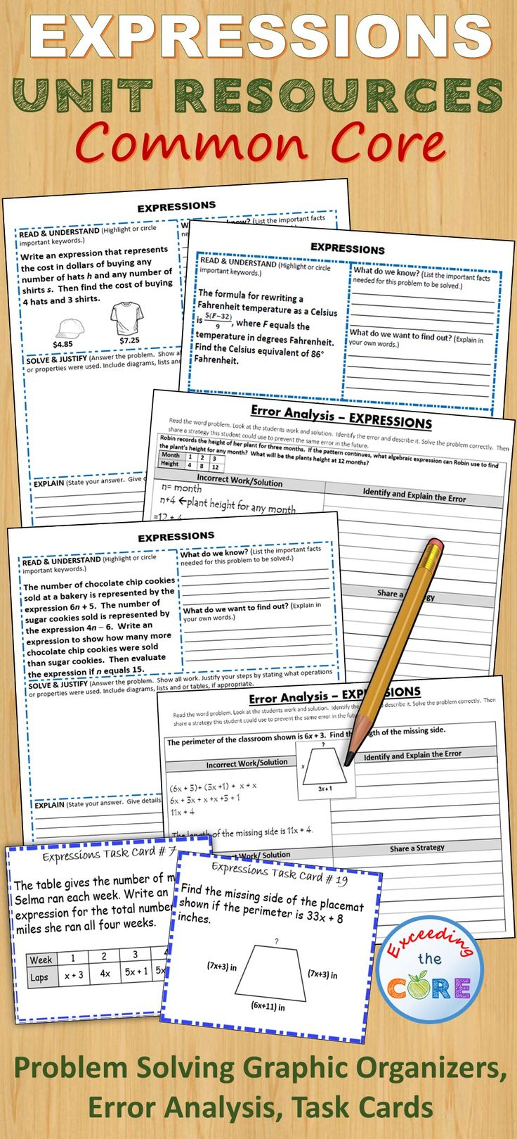 Expressions Bundle Task Cards, Error Analysis, Graphicanizers, Puzzles