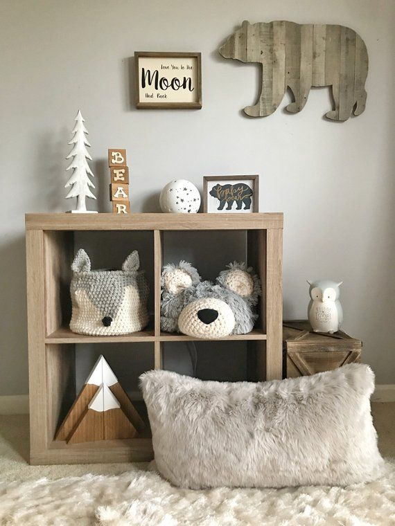 Bear Pillow, woodland decor pillow, decorative nursery pillow