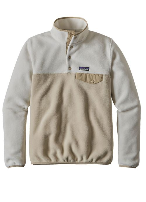Women's lightweight Synchilla Snap-T Pullover in Bleached Stone/ El Cap Khaki by Patagonia is made of warm, midweight polyester fleece and features a nylon trim on the stand-up collar that reinforces