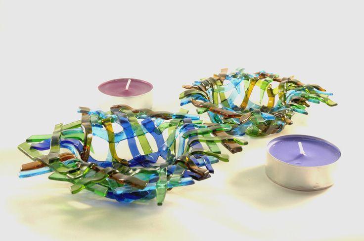 Deko-Objekte - Kerzenhalter aus Glasflaschen 1 + 1 Kostenlos - ein Designerstück…