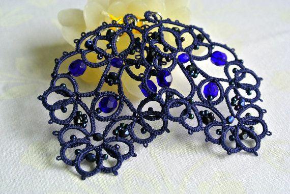 Big blue lace earrings made in by Ilfilochiaro on Etsy                                                                                                                                                                                 More