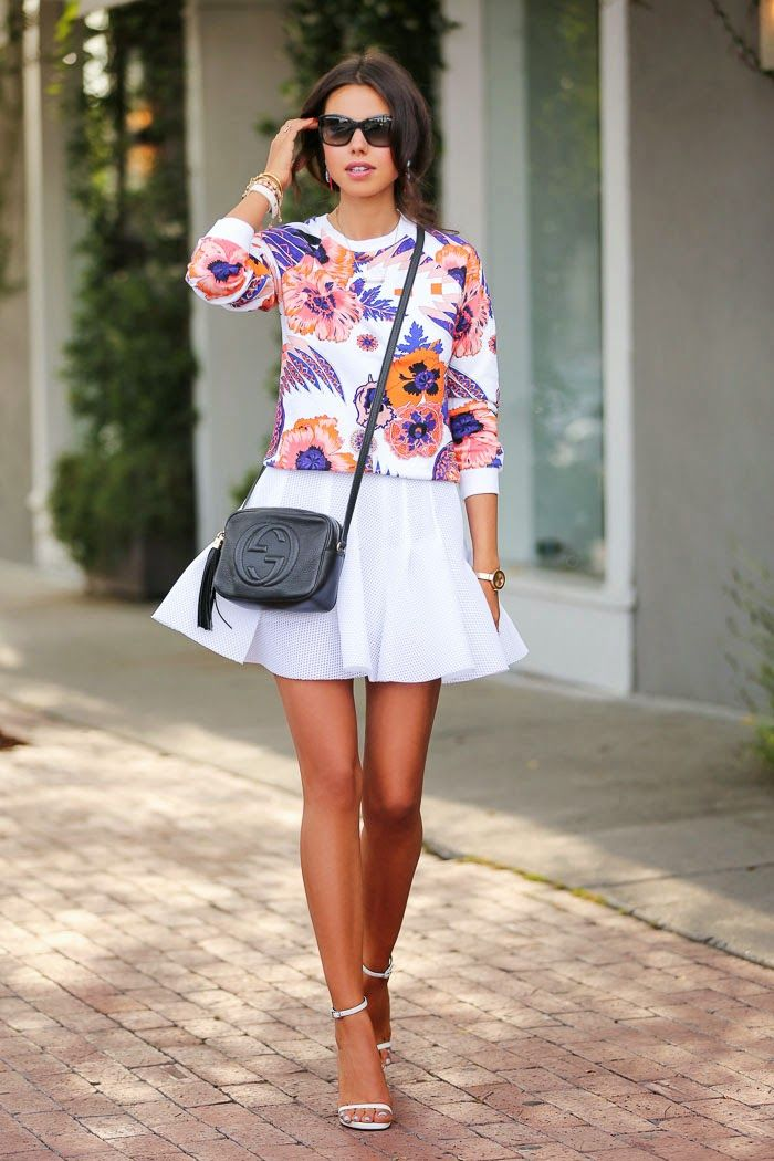 This floral print sweatshirt is gorgeous, plus this mesh skirt is super cute!