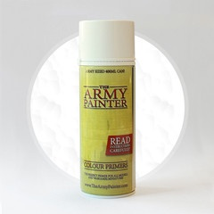 The Army Painter White Primer... A very fine pigment makes the Matt White Undercoat a perfect primer for all paint jobs. The paint dries very quickly and leaves every detail on the miniature in excellent condition. Size of can is 400ml $19.90 NZD